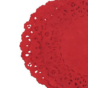 """TRUE RED Colored PAPER LACE DOILIES   4"""" 6"""" 8"""" 10"""" 12"""" 14""""   Christmas Red Doily"""