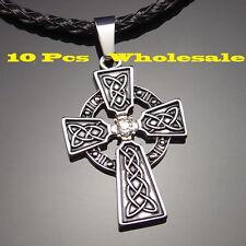 "10 pcs Irish Celtic Knot CZ Cross Pewter Pendant with 20"" Choker Necklace PP#251"