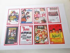 THE BEATLES FOREIGN FILM RELEASES TRADING CARDS FULL SET OF 8 ON UNCUT SHEET