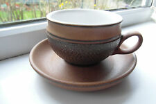 Denby Cotswold Tea Cup & Saucer Brown Stoneware 1970s Retro