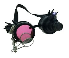 Black Spiked Mad Scientist Goggles magnifier 12/72 Steampunk Mens LIGHT-UP