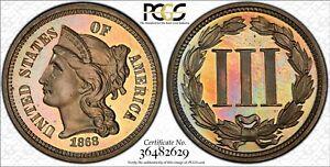 1868 PCGS & CAC PR66+DCAM 3CN