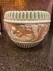 "Antique Large Roseville Pottery Donatello Pattern Jardiniere  8""TX9 1/2"" W"