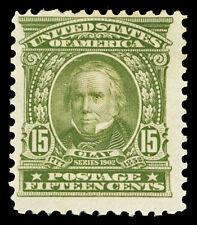 Scott 309 1903 15c Olive Green Clay Regular Issue Mint Fine OG HR Cat $185