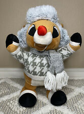 Musical Dancing Rudolph The Red Nosed Reindeer Sweater/Scarf CUTE!!!  WORKS!!!