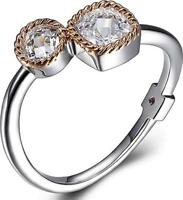 ELLE Jewelry - Rose Gold Plated Sterling Silver Two Stone CZ Ring