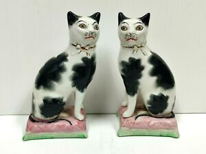 Antique Pair of Victorian Staffordshire Cats