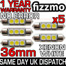 5x 3 SMD LED 36mm 239 272 CANBUS ERROR WHITE NUMBER PLATE LIGHT FESTOON BULB UK