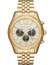 Michael Kors Men's Mk8494 44Mm Lexington Chronograph Crystal Pave Dial Gold-Tone