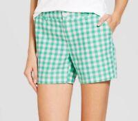 "NWT MERONA Women's gingham chino 5"" shorts--Green & white--12 or 18"