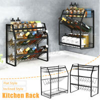3 Tier Spice Rack Iron Storage Shelf Seasoning Sauce Utensil Kitchen Holder