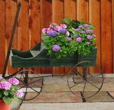 Country Green Rustic Wooden Garden Wagon Decorative Planter with Rolling Wheels