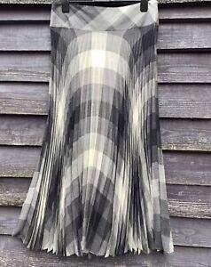 JOYCE RIDINGS Grey/Cream Check Long Pleated Wool Blend Skirt Deep Waistband UK14