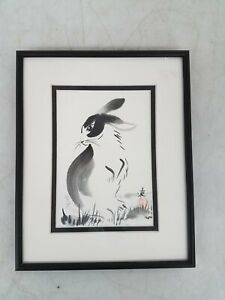 "Patriz Bruzas Asian Rabbit Painting Framed 8x10"""