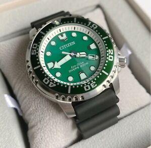 Citizen Promaster Diver Watch * BN0158-18X Eco-Drive Green Dial Black Rubber