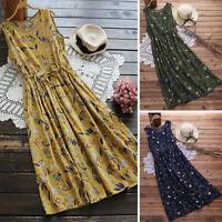 ZANZEA Women Sleeveless Tank Dress Long Maxi Sundress Relaxed Fit Floral Dress