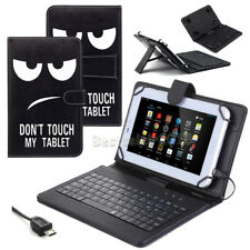 """US For Amazon Kindle Fire 7 2017 7"""" New PU Leather Micro USB Keyboard Case Cover"""