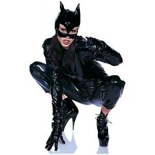 Black Vinyl Cat Woman Mask Womens Halloween Fancy Dress Costume Accessory