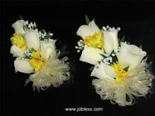 2 SILK IVORY ROSES with YELLOW CORSAGE for the BIG day