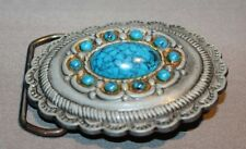 Old Concho Belt Buckle with faux Turquoise