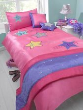 SINGLE BED BED IN A BAG SET SUPERSTAR PINK LILAC YELLOW GIRLS STAR RUNNER FUN