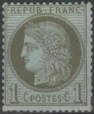 """FRANCE STAMP TIMBRE N° 50 """" TYPE CERES 1c VERT-OLIVE 1872 """" NEUF xx A VOIR"""