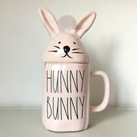 New Rae Dunn Baby Pink Hunny Bunny Mug With Head Topper LL - Easter 2020