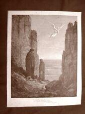 Incisione di Gustave Dorè del 1890 Angelo 5° girone Divina Commedia Purgatorio