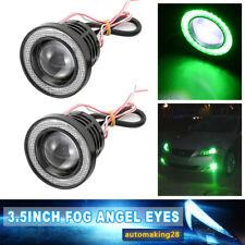 3.5'' Green Round LED Driving Projector Bulb COB Fog Light  Angel Eye Halo Ring