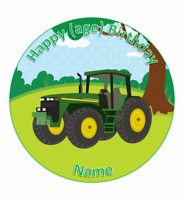 Personalised cake topper tractor farm  round square wafer or icing edible