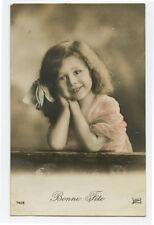 c 1910 Cute Little Cutie ADORABLE GIRL Child Children photo postcard