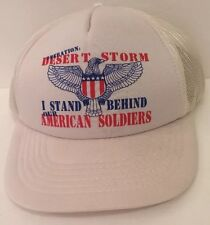 Desert Storm Hat Cap Trucker Mesh Stand America Soldier USA Military Flag Eagle