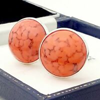 Vintage Coral Orange Peking Marble Glass - Large Round Silvertone Cufflinks