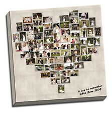 PERSONALISED HEART CANVAS PRINT SHAPE PHOTO COLLAGE BOX FRAMED