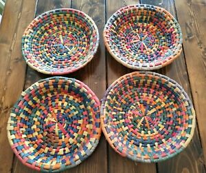 """Lot Of 4 Boho Multi Color Round Wall Baskets 11"""""""