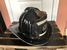 Vintage Cairns & Brothers Metal Fire Helmet With Leather Badge