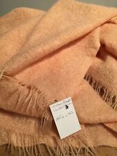 "RARE VINTAGE PEACH  MOHAIR QUEEN SIZE BED BLANKET  85"" x 94"""