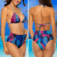 Women High Waist Bikini Set Swimwear Swimsuit Floral Print Beach Bathing Suit