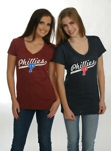 Philadelphia Phillies Triblend Top for Women Red or Navy