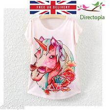 Harajuku Peach Unicorn Print T-Shirt Size UK 8 Women Tee Tops New Printed Top