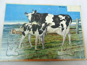 Vintage Milton Bradley Country Farm Dairy Cow Children's Puzzle Toy