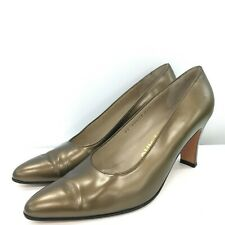 Salvatore Ferragamo Women's Pointed Court Shoe UK 7.5 Bronze/Gold Formal 301030