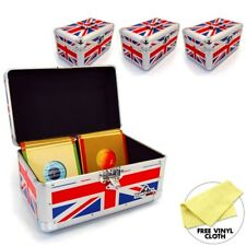 "Gorilla 7"" Singles Vinyl Record Box Storage Carry Case Holds 200 (Union Jack) x4"