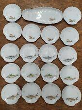 Limoges service 19 assiettes Poisson Coquille porcelaine de Pologne Parfaites