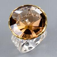 Smoky Quartz Ring Silver 925 Sterling Handmade24ct+ Size 8 /R130962