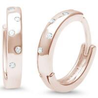 Genuine Diamond Huggie Hoop Earrings in 14k Rose Gold/Solid Sterling Silver