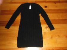ANN TAYLOR Black Chunky Cable Knit Wool Blend SWEATER DRESS SZ Medium NWT