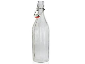 1L Vintage Style Clear glass Swing lid bottle- Pack of 6 bottles, ceramic lids