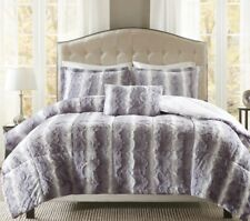 Faux Fur Comforter Set King Size Soft Silver Grey 4 Piece Shams Accent Pillow