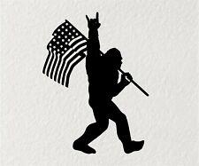 Sasquatch Bigfoot Rock On Flag Funny DieCut Vinyl Window Decal Sticker Car Truck